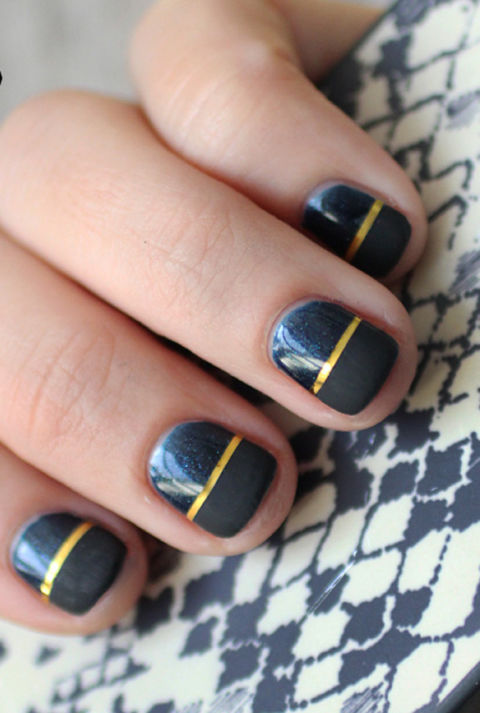 This looks complicated, but it's surprisingly easy. Start with a glossy navy polish, then add a swipe of gold in the middle, and finish it off with a midnight matte shade.&lt;br /&gt;&lt;br /&gt;&lt;br /&gt;&lt;br /&gt;&lt;br /&gt;<br /> See more on I Spy DIY »&lt;br /&gt;&lt;br /&gt;&lt;br /&gt;&lt;br /&gt;&lt;br /&gt;<br />