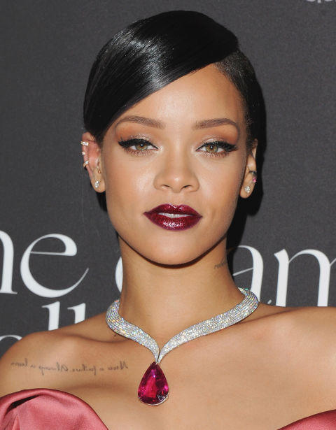 Glittery makeup gets a bad rap (blame the '90s) but it's making a comeback in a big way — especially when it comes to your lips. A deep red or merlot with a dose of sparkle like Rihanna's color adds bold glamour to any autumn or winter look.<br />