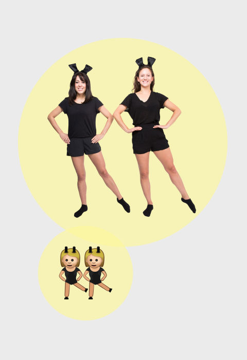 Dressing up as emojis has become a big costume trend for Halloween, and the simplest way to do it is to use clothing you already own. A black shirt and black shorts make up the clothing portion of this dancing girl emoji pair, while black card stock attached to headbands serves as bunny ears.