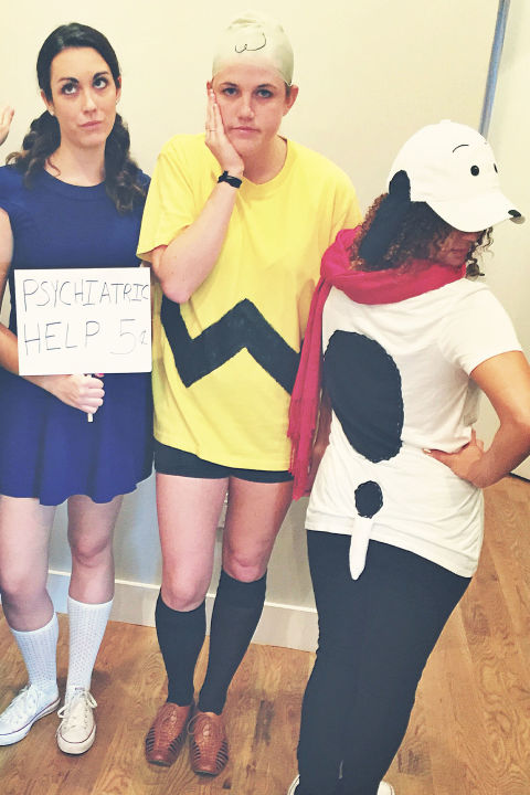 Let your annual screening of It's the Great Pumpkin, Charlie Brown inspire a quick group costume. Cast your crew as the Peanuts gang (don't forget Snoopy!) and use t-shirts and knee socks to recreate the looks. Oh, brother, that's cute!