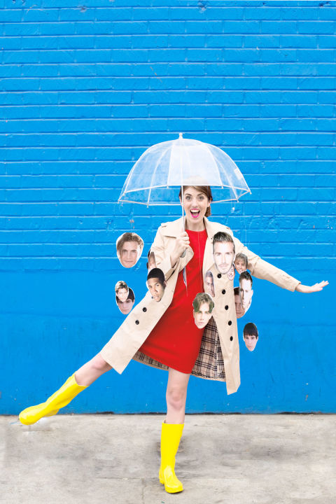 Hallelujah, it's a costume that's weather-proof and will make your friends LOL. Tape cutouts of your favorite guys to a clear umbrella, then wear rain boots and a trench coat to complete the look. 