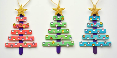 Turn Popsicle Sticks Into Glittery Christmas Tree Ornaments