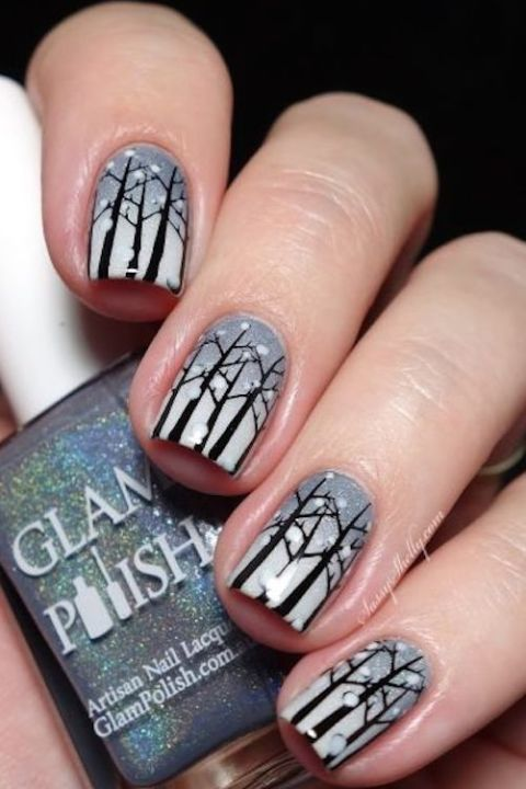 Not only is this a striking tribute to the season, it's also a beautiful way to celebrate nature on your nails. Bonus: Because it's accomplished using stamping, it's much easier than simply hand painting each individual tree.&lt;br /&gt;&lt;br /&gt;&lt;br /&gt;&lt;br /&gt;&lt;br /&gt;<br /> See more on Sassy Shelly »&lt;br /&gt;&lt;br /&gt;&lt;br /&gt;&lt;br /&gt;&lt;br /&gt;<br />