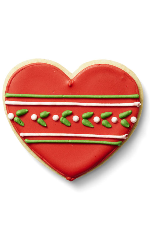 glazed holly hearts - How To Decorate Cookies