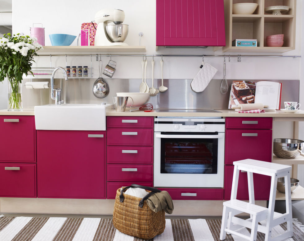 It doesn't have to look like Barbie's Dream House. A darker magenta feels right at home in a grown-up space.