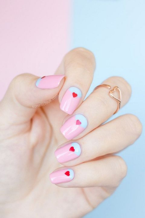 We're over the moon about this cotton-candy-colored mani,&amp;nbsp;but our favorite part is the minuscule heart&amp;nbsp;stickers. How cute are they?</p><p>See more at Glitz N Dirt »</p><p>