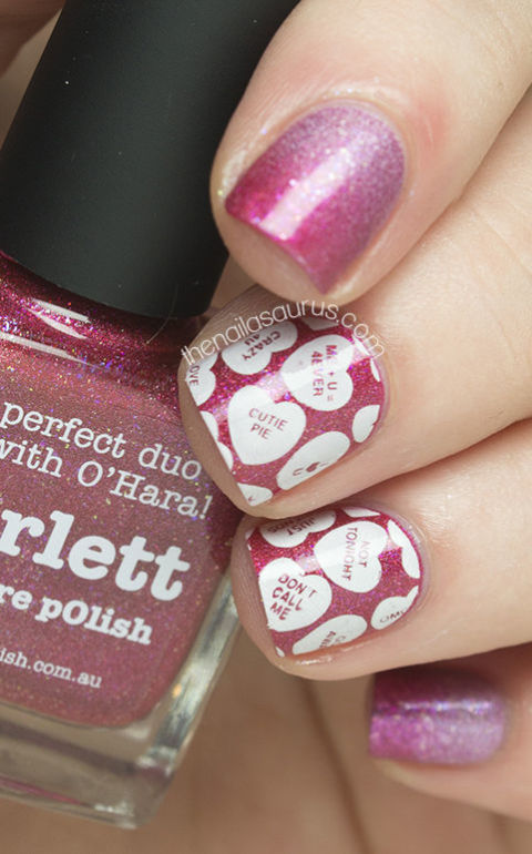 Celebrate the only time of year when these delightful little candies are absolutely everywhere. Don't just eat them — put them on your mani, too! Use Bundle Monster Stamping Plates ($12, amazon.com) to get a picture-perfect finish. See more at The Nailasaurus »