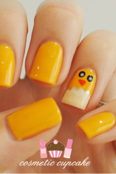 If you can draw dots, a triangle, and a squiggly line then you can totally master this cute manicure. While a handful of baby chicks may come off as childish, just one is the perfect accent. See more at Cosmetic Cupcake »