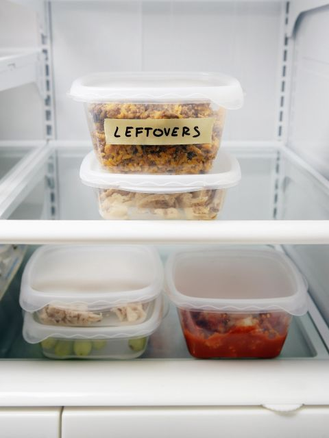 By immediately removing the food and juices that are stuck on the sides, you'll help eliminate smells and stains as early as possible. But, if you forget this step (been there!), lingering odors could impact tomorrow's leftovers, says Forte.
