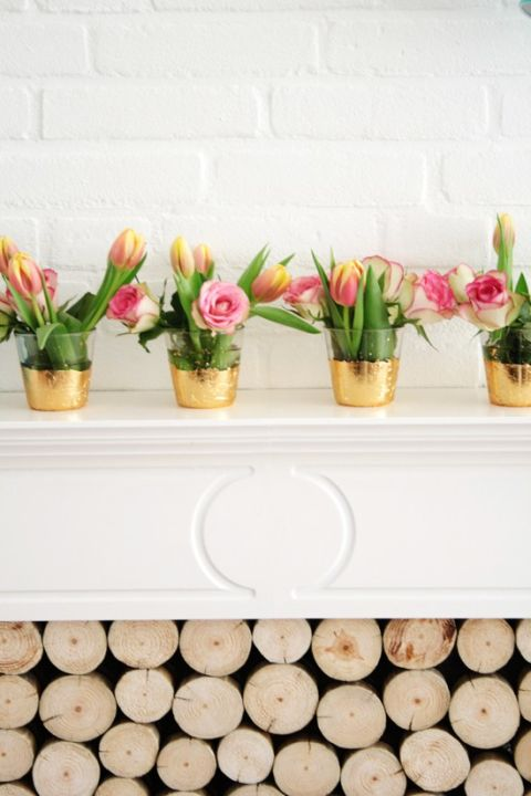 DIY these simple gold leaf vases for Easter and use them again for other spring events like a Mother's Day brunch or a bridal shower. Get the tutorial at By Wilma » What you'll need: gold leaf ($8, amazon.com), metal leaf adhesive ($7, amazon.com)