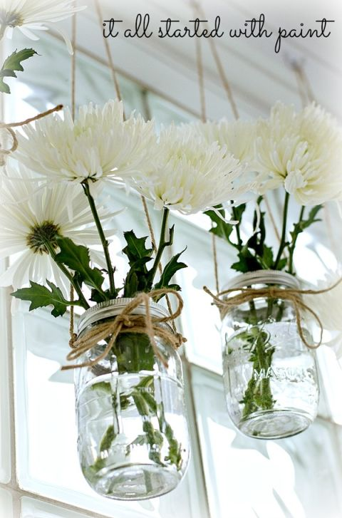 Mason Jar Flower Hanging