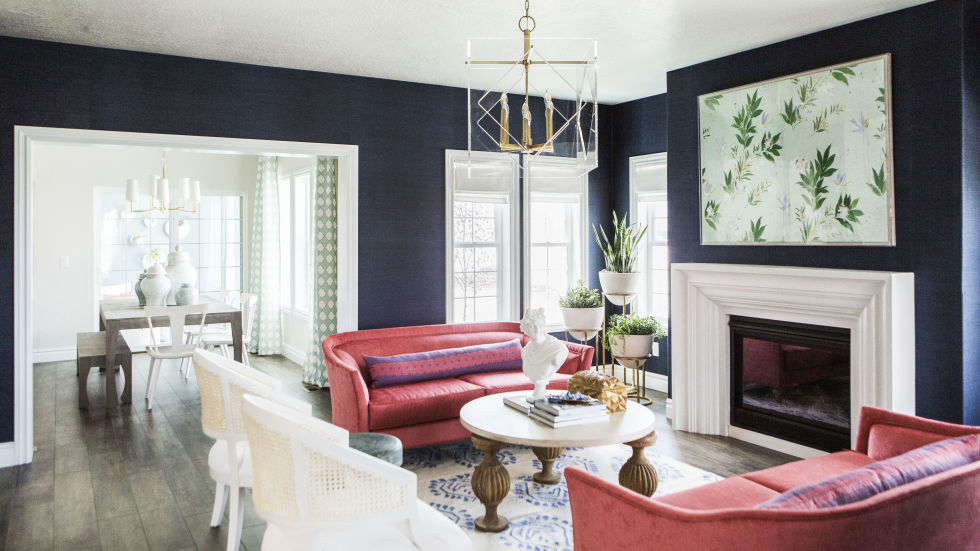 navy walls - Design Living Room