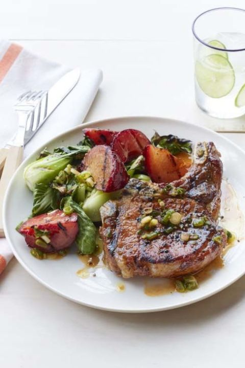 Grilled Pork Chops With Plum And Bok Choy