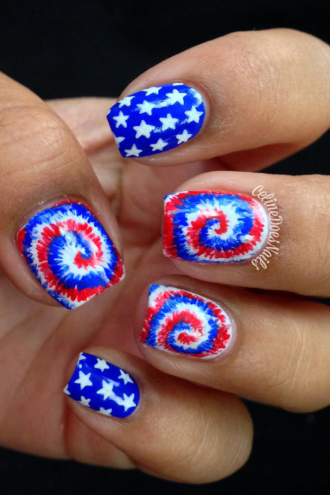 Tie-Dye Magic - 10 Best 4th Of July Nail Art Designs - Cool Ideas For Patriotic