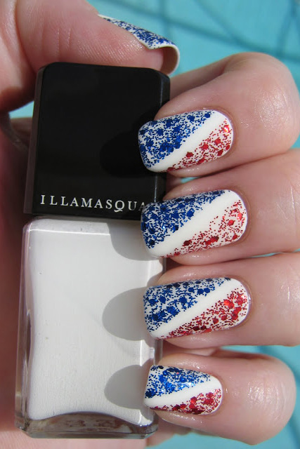 Glitter Lines. Separate red and blue ... - 10 Best 4th Of July Nail Art Designs - Cool Ideas For Patriotic