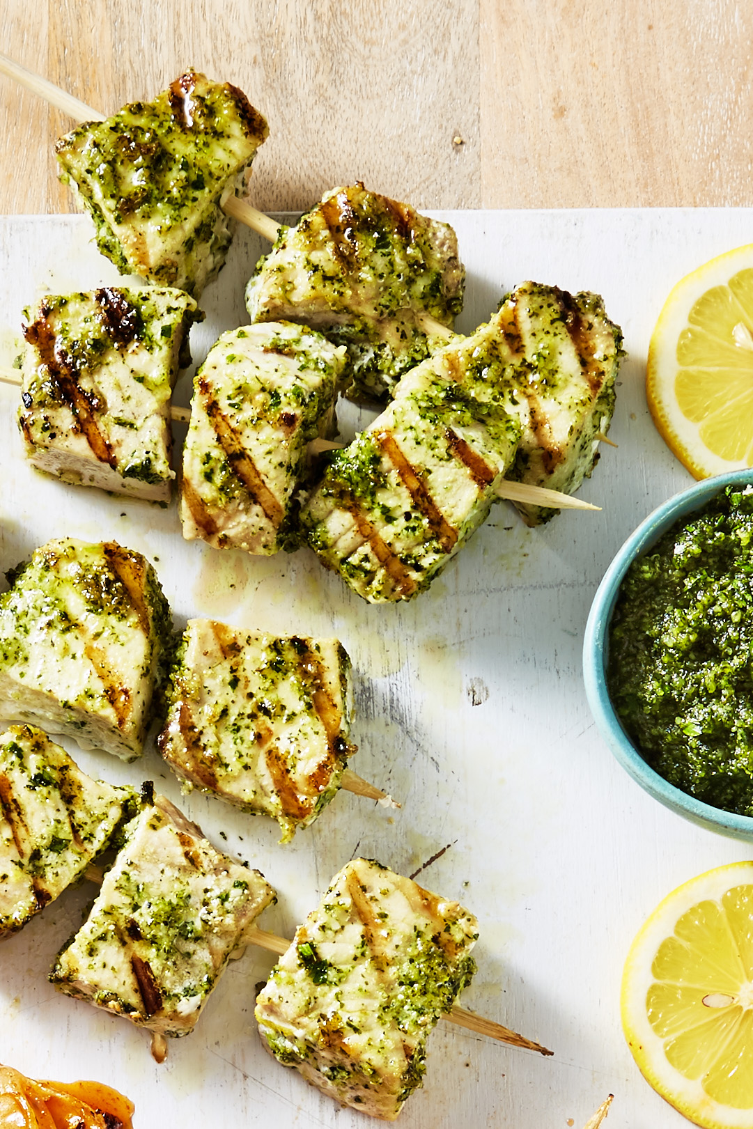 Best swordfish kebabs with mint pesto recipe how to make for Sword fish recipes