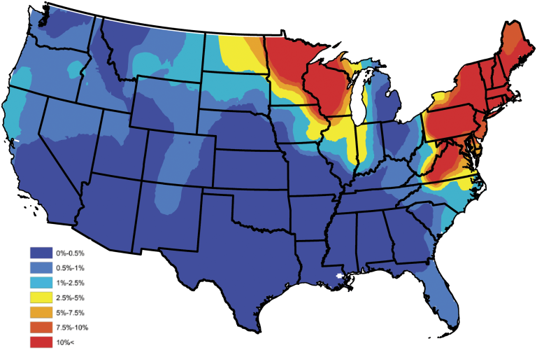 Maps Show Where Lyme Disease Will Be The Most Prevalent This Year - Tick us map