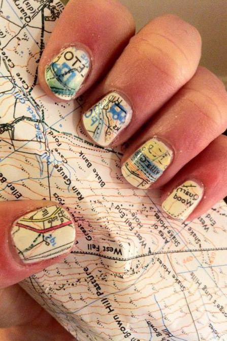 Show off your love for traveling with this vintage road map design. Don't worry if it looks complicated — the design isn't freehanded. All you need is white polish, clear polish, rubbing alcohol, and a map. See more at Sarah Scoop »