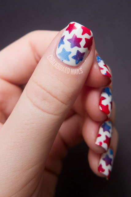 Combine your patriotism and your love for nail art with this ultra-cool ombre stenciled star tutorial.  See more at Chalkboard Nails »