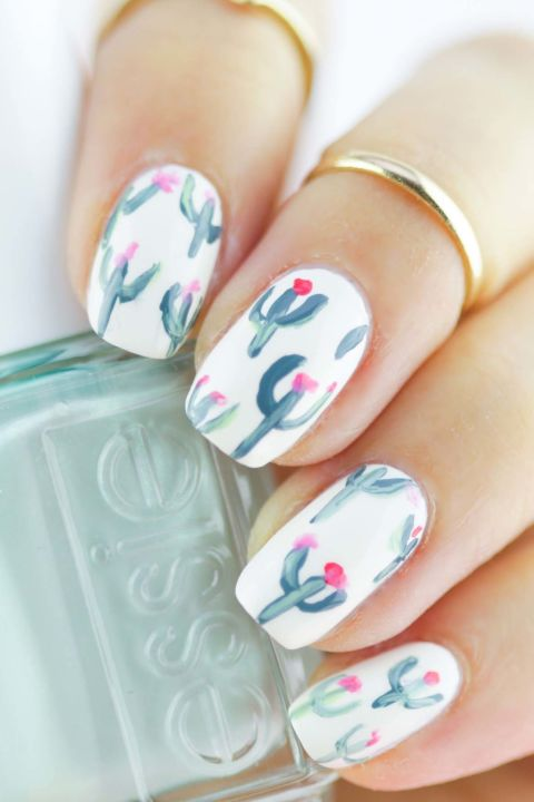 30 summer nail designs for 2017 best nail polish art ideas for cutest cacti prinsesfo Image collections