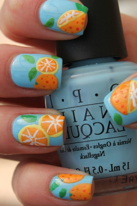 Show off your love for your favorite citrus with these bright orange slice nails. See more at Become Gorgeous » Follow Good Housekeeping on Pinterest and Instagram.