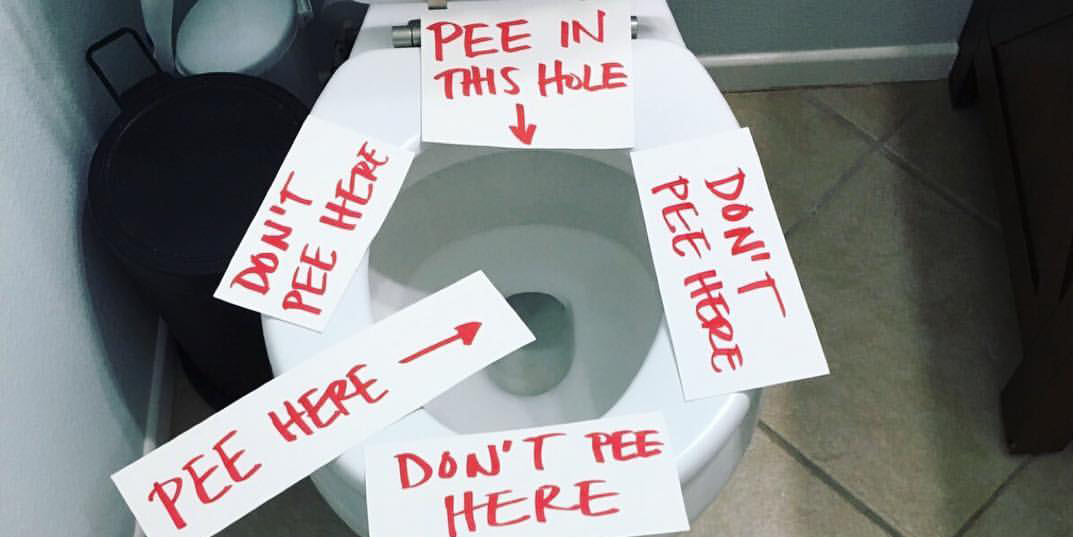 Mom S Hilarious Signs Remind Boys To Watch Where They Pee