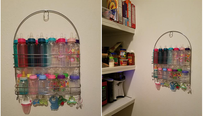 Genius Baby Bottle Storage Hack Mom Uses Shower Caddy For
