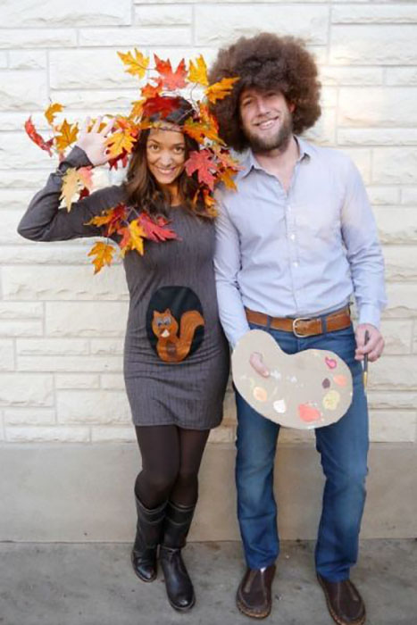 While this couple costume may look complicated, it's surprisingly simple and is super cheap to make — and very on trend since The Joy of Painting is now on Netflix. Bonus: If you have a little critter of your own, you can dress him or her up as Bob's squirrel Peapod.