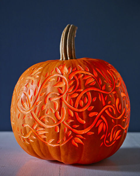 Here's a pro trick for a glowing 3-D effect: Use a lemon zester, clay loop or linoleum cutter to carve into (but not through) the top layer of pumpkin skin.