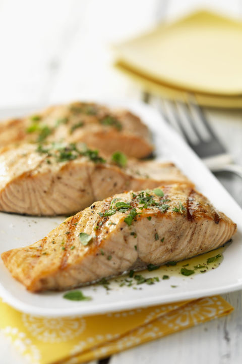 """""""The fish's high amounts of omega-3 fatty acids help reduce inflammation, which can affect how skin looks,"""" explains Tamara Melton, M.S., R.D.N., L.D. Nutrients like vitamin D and antioxidants can also reduce the risk of skin cancer and help with acne and rosacea, Ploch adds."""
