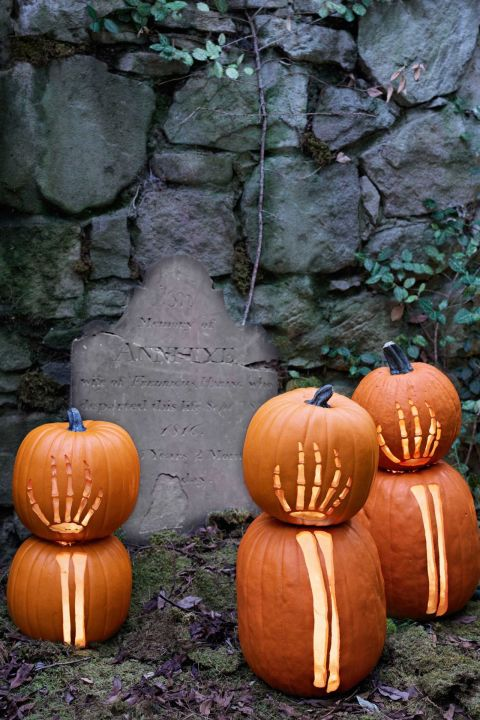 The walking dead are rising up — in your lawn. Life-sized bony limbs fit stretched across doubledecker gourds. 