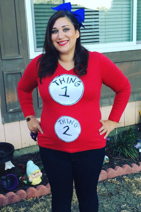 thing 1 thing 2 pregnant costume - Pregnant Halloween Couples Costumes