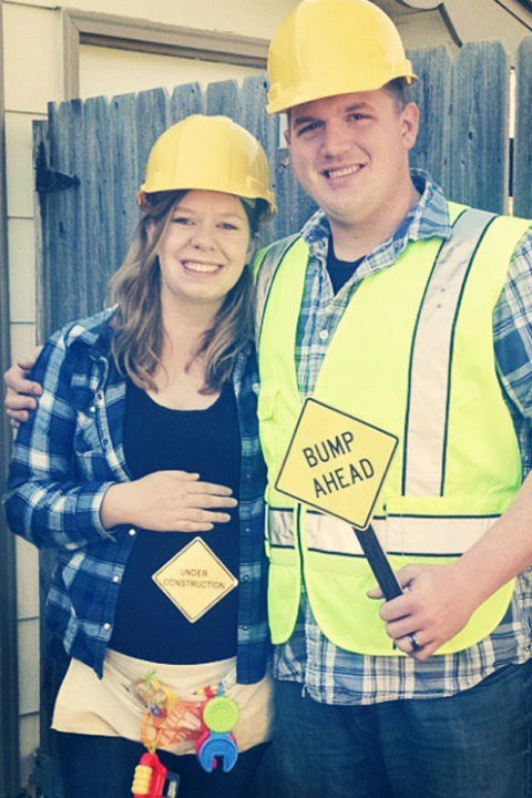 construction worker maternity couple costume pregnancy - Pregnant Halloween Couples Costumes