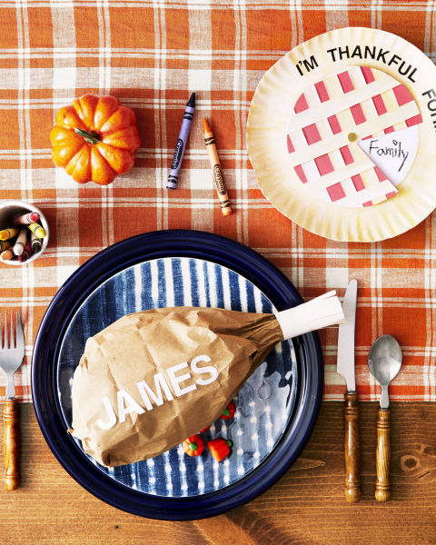 "A spinning ""pie"" chart can help kids pinpoint what they're thankful for. Cut out a construction paper circle the same size as the inside of a paper plate. Attach with brass fastener, then remove a ""slice"" of pie. Write ""I'm Thankful for…"" along the top and ask them to add responses as they rotate the ""slice"" around the pie. Take it one step further with a simple ""turkey leg"" stuffed with candy, popcorn or other goodies. Tape a paper bag's opening shut and wrap frayed white paper around the end. Finish by adding the child's name. What you'll need: paper plates ($10, amazon.com), fasteners ($3, amazon.com)"