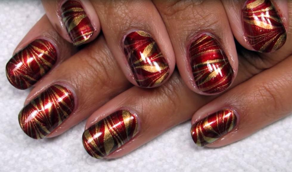 25 thanksgiving nail art designs ideas for november nails metallic marbling prinsesfo Gallery
