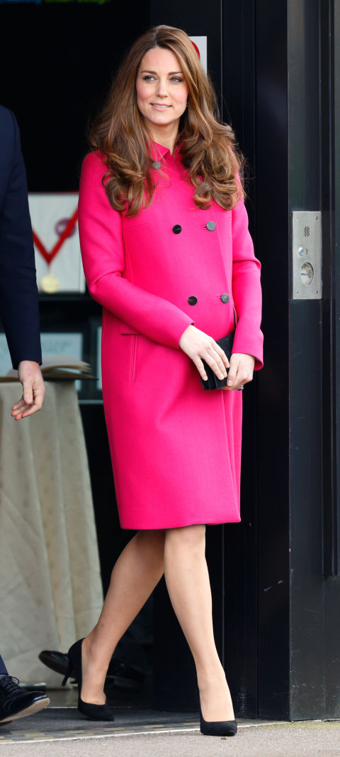 March 27, 2015 &mdash; Kate Middleton wore a hot pink coat over her baby bump to the  Stephen Lawrence Centre, Deptford in London, England just a few weeks before giving birth to Princess Charlotte.