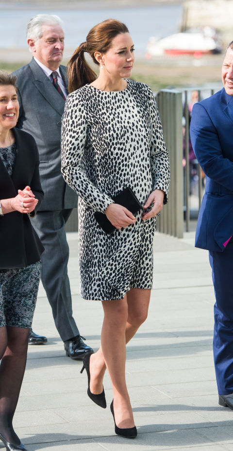 March 11, 2015&amp;nbsp;&mdash; Kate Middleton re-wore an animal print shift at the&amp;nbsp;Turner Contemporary Gallery in Margate, England that she originally wore while pregnant with Prince George.