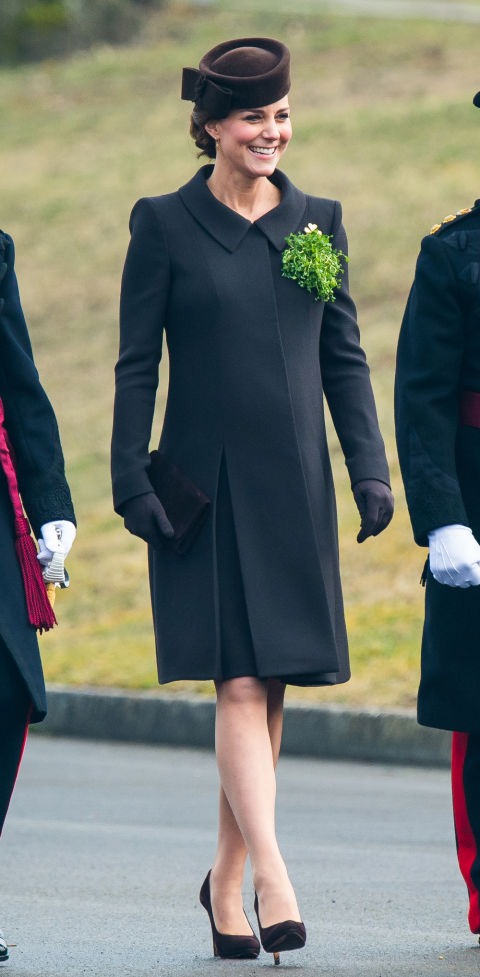 March 17, 2015&amp;nbsp;&mdash; The Duchess of Cambridge wore a dark green coat to the&amp;nbsp;St.&amp;nbsp;Patrick's Day Parade at Mons Barracks&amp;nbsp;in Aldershot, England&amp;nbsp;while pregnant with Princess Charlotte.