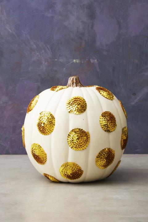 sequin polka dot halloween pumpkin