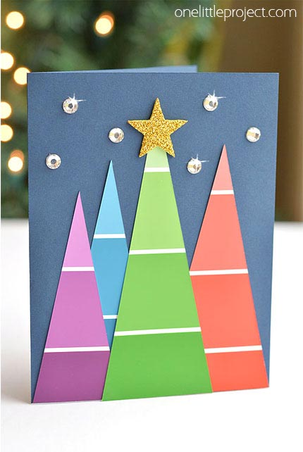 36 diy christmas cards how to make homemade holiday cards paint chip cards solutioingenieria Image collections