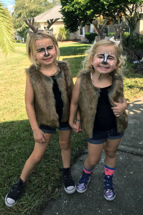 Whether you or your little one decides to go as a deer for Halloween, all you'll need is a brown faux fur vest, an antler headband and a little face paint worn over a simple dark outfit. Too cute!