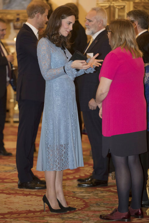 October 10, 2017&amp;nbsp;&mdash; In her first public appearance since announcing her third pregnancy, Kate Middleton wore a blue Temperley London dress that showed a hint of a growing baby bump to an event in honor of World Mental Health Day.