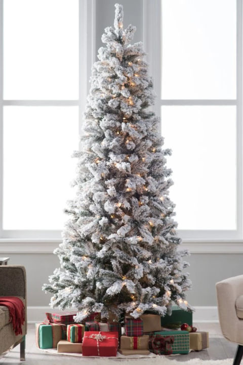 classic flocked slim pre lit 65 feet - Buy Christmas Tree