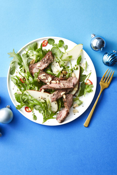 If you're not a fan of red meat, you can swap out steak for chicken. 