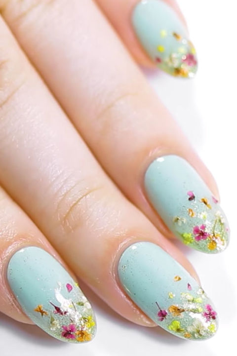 20 flower nail art design ideas easy floral manicures for spring tiny dried petals prinsesfo Gallery