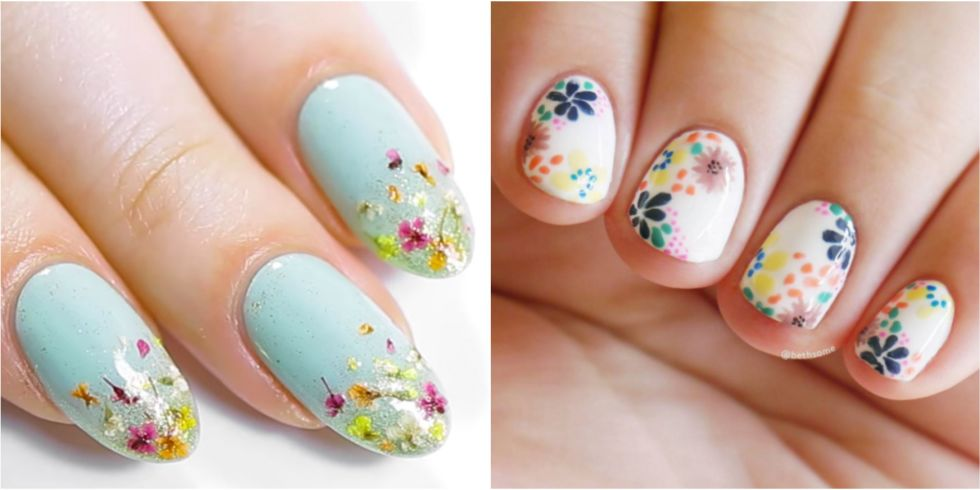 20 flower nail art design ideas easy floral manicures for spring view gallery prinsesfo Gallery