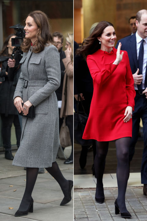 December 6, 2017&amp;nbsp;&mdash;&amp;nbsp;Kate wore a cheery&amp;nbsp;red dress by Goat underneath a plaid L.K. Bennett coat belted just above her baby bump to the&amp;nbsp;Children's Global Media Summit in Manchester, England.