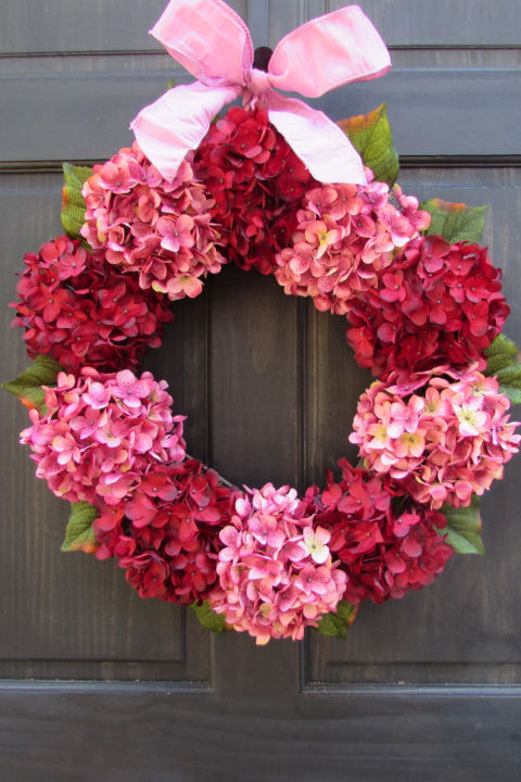 Red And Pink Valentines Day Wreath For Front Door Decoration