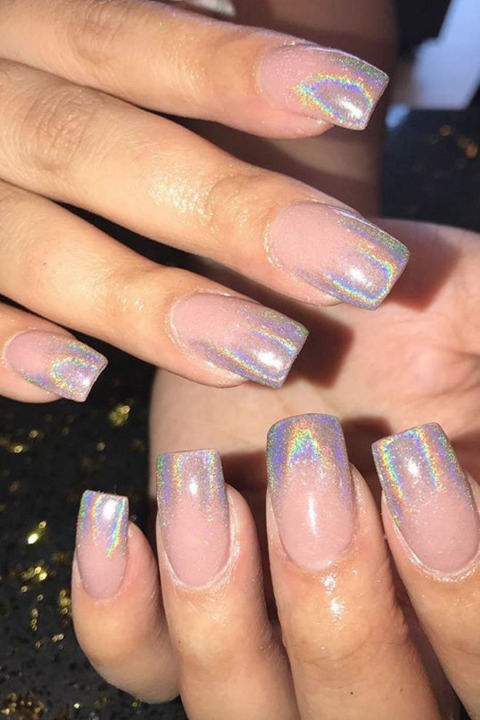Holographic - 14 Best Ombre Nail Design Ideas - How To Do Ombre Nails