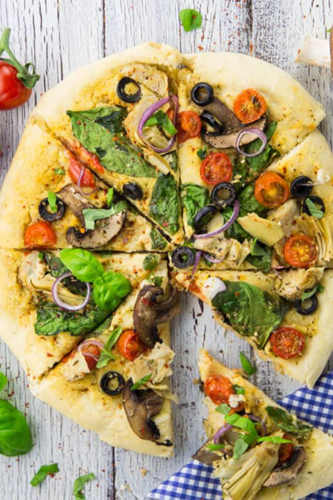 12 best vegan pizza recipes how to make vegan pizza hummus pizza with veggies forumfinder Image collections